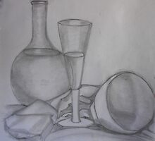Still LIfe - Glass Bottle and Bowl by Kargin