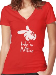"""he's mine """"Design Couple"""" Women's Fitted V-Neck T-Shirt"""