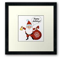 Funny cartoon Santa Claus. Framed Print