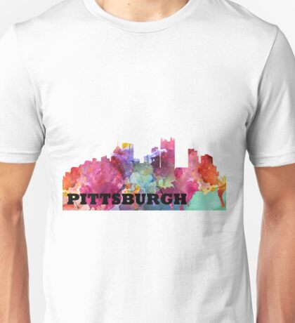 Watercolor Pittsburgh Skyline Unisex T-Shirt