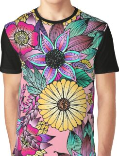 Floral Vibrant Hand Drawn Illustrated Flowers Graphic T-Shirt
