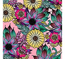 Floral Vibrant Hand Drawn Illustrated Flowers Photographic Print