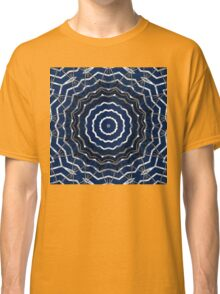 Blue stripes on white grunge textured kaleidoscope Classic T-Shirt