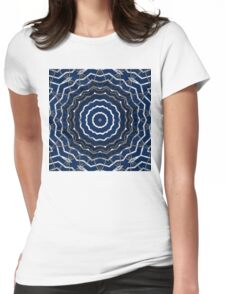 Blue stripes on white grunge textured kaleidoscope Womens Fitted T-Shirt