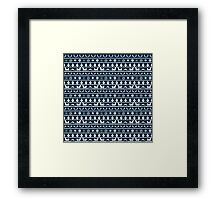 Christmas Blue and White Tiny Christmas Nordic Knit Repeated Fair Isle Pattern Framed Print