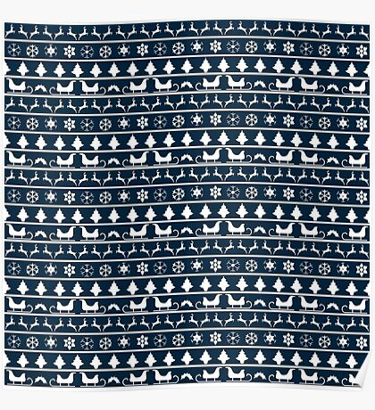 Christmas Blue and White Tiny Christmas Nordic Knit Repeated Fair Isle Pattern Poster