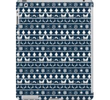 Christmas Blue and White Tiny Christmas Nordic Knit Repeated Fair Isle Pattern iPad Case/Skin