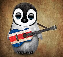 Baby Penguin Playing Costa Rican Flag Guitar by Jeff Bartels