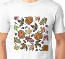 Fall Autumn Leaves Pumpkin and Acorns Illustration Unisex T-Shirt