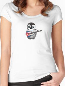 Baby Penguin Playing Cuban Flag Guitar Women's Fitted Scoop T-Shirt