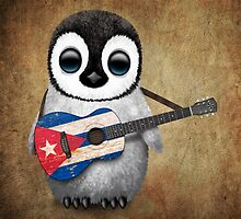 Baby Penguin Playing Cuban Flag Guitar by Jeff Bartels