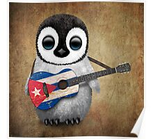 Baby Penguin Playing Cuban Flag Guitar Poster