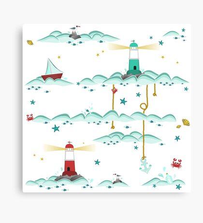 Maritimes Muster - I love the Baltic Sea - weiß Canvas Print