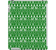 Christmas Green and White Tiny Christmas Nordic Knit Repeated Fair Isle Pattern iPad Case/Skin