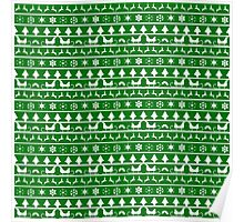 Christmas Green and White Tiny Christmas Nordic Knit Repeated Fair Isle Pattern Poster