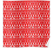 Christmas Red and White Tiny Christmas Nordic Knit Repeated Fair Isle Pattern Poster