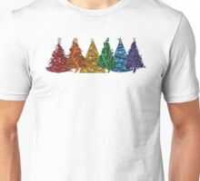 Rainbow Christmas Trees Unisex T-Shirt