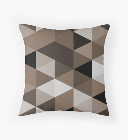 Sepia triangles pattern Throw Pillow