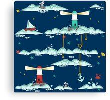 Maritimes Muster - I love the Baltic Sea - dunkelblau Canvas Print
