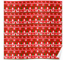 Red, White and Green Tiny Christmas Nordic Knit Repeated Fair Isle Pattern Poster