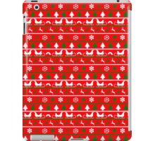 Red, White and Green Tiny Christmas Nordic Knit Repeated Fair Isle Pattern iPad Case/Skin