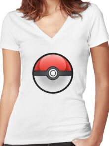 R/W Catching Ball! Women's Fitted V-Neck T-Shirt