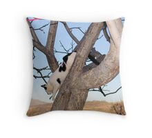 Cat Tails 6 - Dropping In For A snack Throw Pillow
