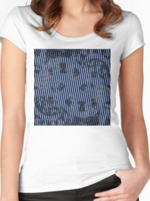 White stripes on blue texture background Women's Fitted Scoop T-Shirt