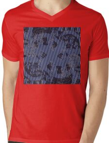 White stripes on blue texture background Mens V-Neck T-Shirt