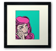 Sad Girl - Pink Framed Print