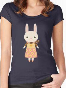 Cute kawaii cartoon bunny rabbit Women's Fitted Scoop T-Shirt