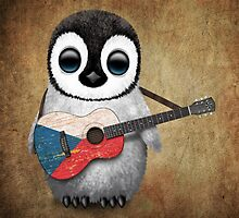 Baby Penguin Playing Czech Republic Flag Guitar by Jeff Bartels