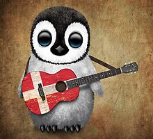 Baby Penguin Playing Danish Flag Guitar by Jeff Bartels