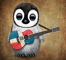 Baby Penguin Playing Dominican Republic Flag Guitar by Jeff Bartels