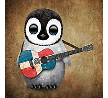 Baby Penguin Playing Dominican Republic Flag Guitar Photographic Print