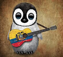 Baby Penguin Playing Ecuadorian Flag Guitar by Jeff Bartels