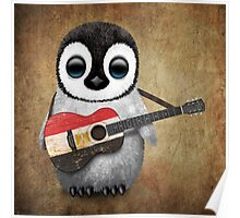 Baby Penguin Playing Egyptian Flag Guitar Poster