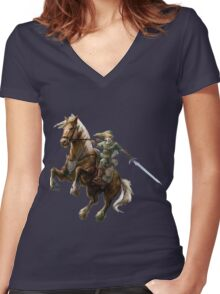 ZELDA LINK ART Women's Fitted V-Neck T-Shirt
