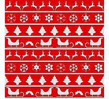 Red & White Christmas Puffy Stich Quilt Photographic Print