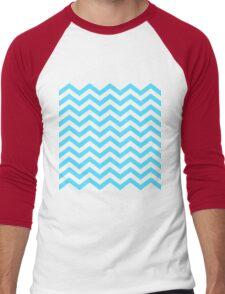 Light Blue Chevron Lines Men's Baseball ¾ T-Shirt