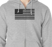 U.S. Flag: Black & White Zipped Hoodie