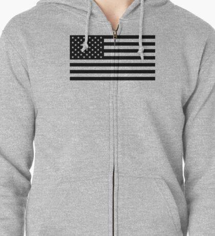 U.S. Flag: Black & White Zipped Hoodie