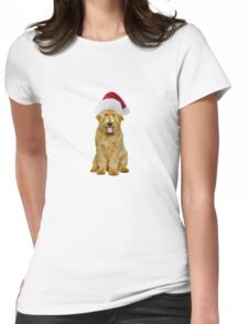 Goldendoodle Santa Claus Merry Christmas Womens Fitted T-Shirt
