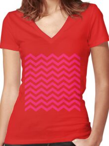 Pink Chevron Lines Women's Fitted V-Neck T-Shirt