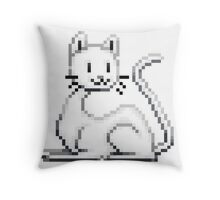 Pixel White Cat Throw Pillow