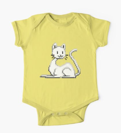 Pixel White Cat One Piece - Short Sleeve