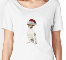 Jack Russell Terrier Santa Claus Merry Christmas Women's Relaxed Fit T-Shirt