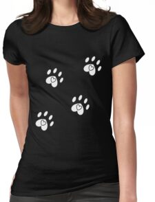 cats leave paw prints on our hearts Womens Fitted T-Shirt