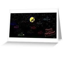 Happy Halloween Neon Witches  Greeting Card
