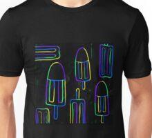 Neon Popsicles on blue n black Unisex T-Shirt